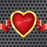 Valentine heart with ribbon Stock Images
