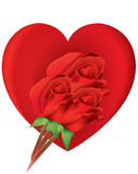 Valentine heart with roses Royalty Free Stock Image