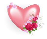Valentine heart with roses Royalty Free Stock Photo
