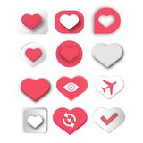 Set of red heart symbol icon for love and romantic card design. Valentine heart set icon isolated on white. 12 icon, logo collection vector illustration vector illustration