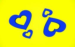 Valentine Heart Shape Blue abstrait et fond jaune de modèle Photos libres de droits