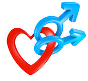 Valentine heart shape connecting male gender symbols for two men Royalty Free Stock Images