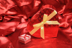 Valentine Heart Shape Gift Box. And burning candles Royalty Free Stock Photo