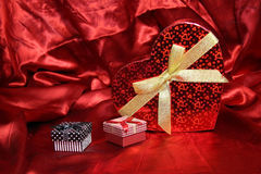 Valentine Heart Shape Gift Box. And burning candles Stock Photography