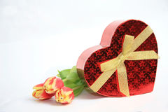 Valentine Heart Shape Gift Box. And burning candles Royalty Free Stock Photos