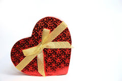 Valentine Heart Shape Gift Box. And burning candles Royalty Free Stock Images
