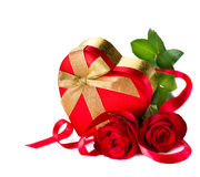 Valentine Heart Shape Gift Box. And red roses bouquet Royalty Free Stock Image