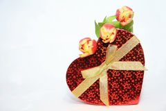 Valentine Heart Shape Gift Box. Tulips Stock Photography