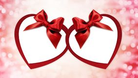 Valentine heart shape gift card with red ribbon bow Isolated on Royalty Free Stock Photography