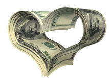 Valentine heart shape made by dollars isolated Stock Photography