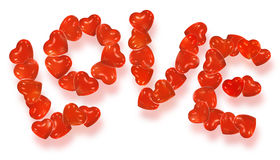 Word Love made from balloons. Word Love written with heart shaped balloons stock illustration