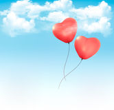 Valentine heart-shaped baloons in a blue sky with  Royalty Free Stock Photos