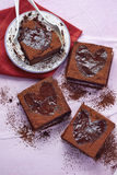 Valentine heart shaped brownies. With cocoa Royalty Free Stock Photography