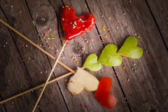 Valentine Heart Shaped Candy And Fruit Stock Photos