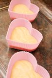 Valentine heart shaped cup cakes Stock Photo