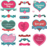 Valentine heart shaped decoration and ribbons Royalty Free Stock Photos