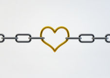Valentine Heart Shaped Metal between chains holding links togeth Stock Photos