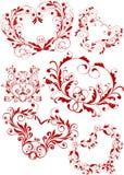 Valentine heart-shapes. Five valentine ornamental heart-shapes Stock Images