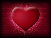 Valentine Heart shining through life. Valentine Heart shining  with ray on the dark red background with lovely text Royalty Free Stock Photo