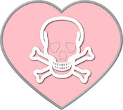 Valentine heart with Skull and Crossbones. Pink heart with Skull and Crossbones inside Stock Photography