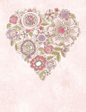 Valentine heart of spring flowers Stock Photos