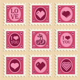Valentine Heart Stamps Stock Photo