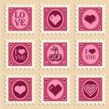 Valentine Heart Stamps. Vector set of vintage Valentine heart stamps Stock Photo
