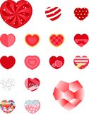 Valentine heart sticker set friendship celebration. Set of sweet heart sticker for Valentines day celebration with two special big heart for special ones Royalty Free Stock Photo