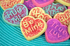 Valentine heart sugar cookie with love message Stock Photography