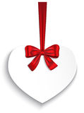 Valentine heart. Tied with red ribbon and bow. Vector illustration Stock Photos