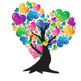 Valentine heart tree turnovers. Trees of Love leaves made of colorful heart for Valentine`s stock illustration