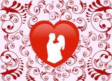 Valentine Heart u. Blumenmuster - Illustration Lizenzfreies Stockfoto