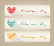 Valentine heart vector banner set Royalty Free Stock Image