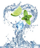Valentine Heart from water splash, mint, ice and lime Royalty Free Stock Images