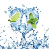 Valentine Heart from water splash mint, ice and lime Royalty Free Stock Image