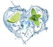 Valentine Heart from water splash, mint, ice and lime Stock Images