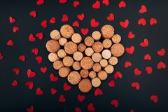 Valentine heart from wine corks on background stock photography