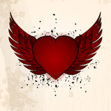 Valentine heart with wings grunge background Stock Images