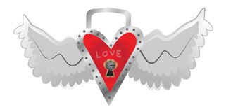 Valentine heart wings Royalty Free Stock Photography