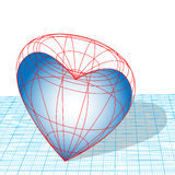 Valentine Heart Wireframe. Designing, heartless, cold-hearted. A Valentine heart as a wireframe 3D design on graph paper royalty free illustration