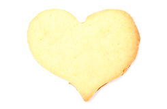 Valentine heart of yeast cake on white background Stock Photos