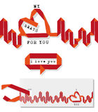 Valentine heartbeat. Valentine elements, heartbeat, speech bubble of  red paper ribbon, isolated Royalty Free Stock Photography