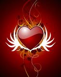 Valentine hearth with wing Royalty Free Stock Photos