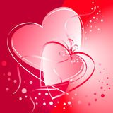 Valentine hearts. Delicate linked hearts on a red background Royalty Free Stock Photography