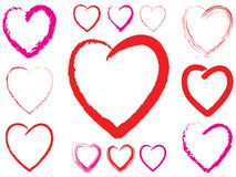 Valentine Hearts. 13 various textured valentine Hearts royalty free illustration