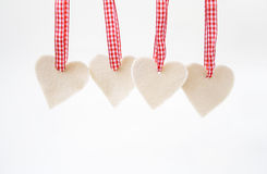 Valentine hearts. Four valentine hearts on white isolated background Royalty Free Stock Photo