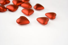 Valentine hearts. Red heart shape decorations for valentines day Royalty Free Stock Photography