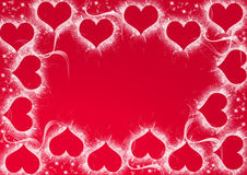 Valentine hearts. Over red background Royalty Free Stock Photo
