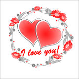 Valentine hearts. Abstract Valentine card with flowers and heart shape Stock Photo