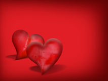 Valentine Hearts. On red background with free space for mesage Stock Photos